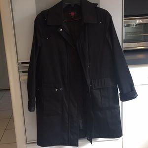 Women's black zip up hooded raincoat